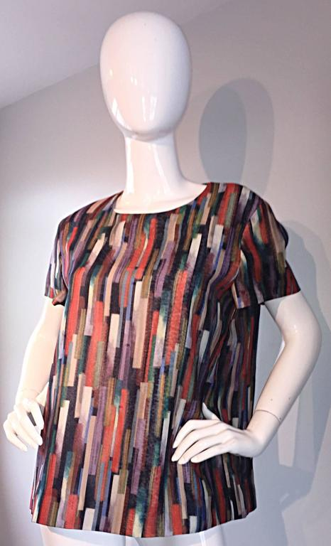 Gerard Darel Multi Color Abstract Silk Trapeze Swing Top / Blouse Made in France 3