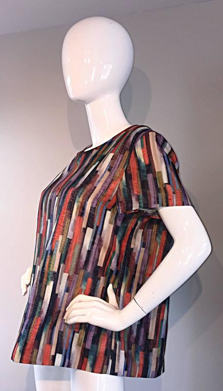 Gerard Darel Multi Color Abstract Silk Trapeze Swing Top / Blouse Made in France 5