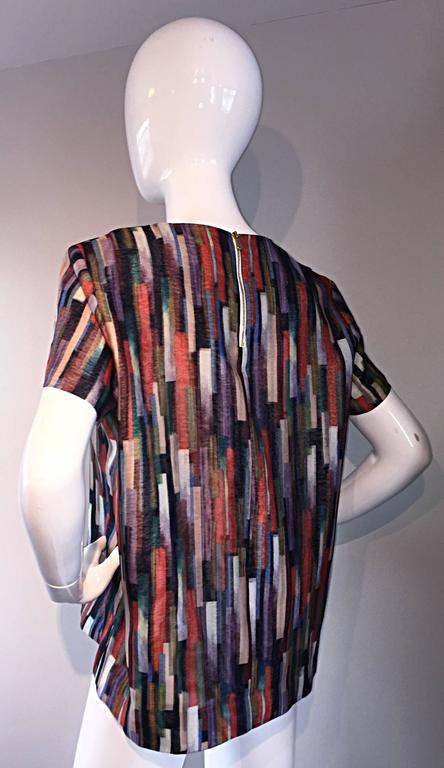 Gerard Darel Multi Color Abstract Silk Trapeze Swing Top / Blouse Made in France 6
