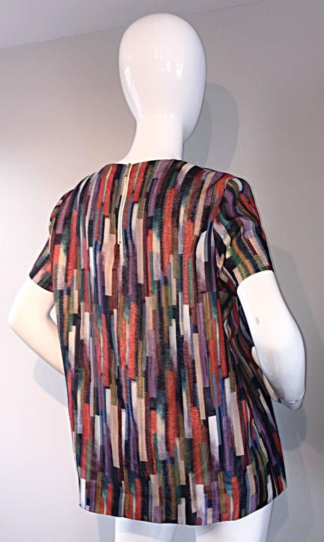 Gerard Darel Multi Color Abstract Silk Trapeze Swing Top / Blouse Made in France 4