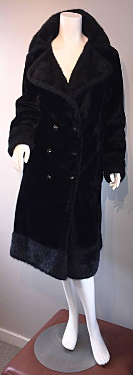 1960s Vintage Mackintosh Black Faux Fur 60s Double Breasted Swing Jacket Coat 6