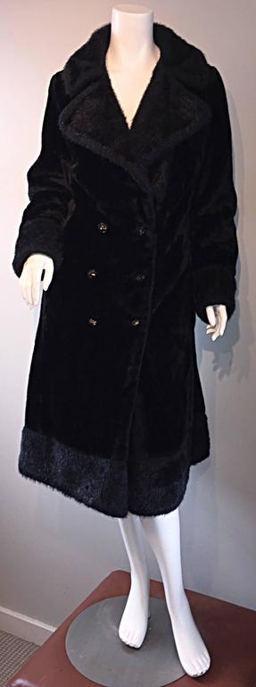 1960s Vintage Mackintosh Black Faux Fur 60s Double Breasted Swing Jacket Coat 4