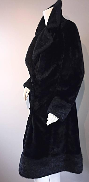 1960s Vintage Mackintosh Black Faux Fur 60s Double Breasted Swing Jacket Coat 5