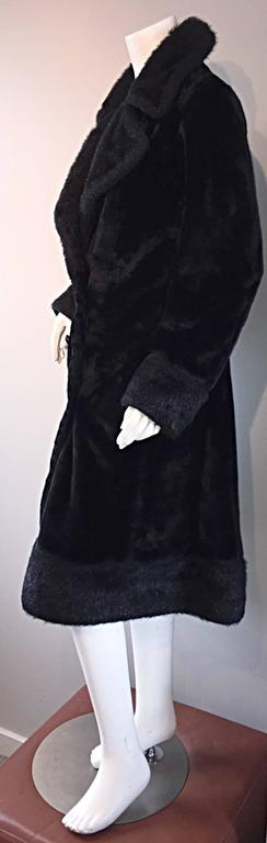 1960s Vintage Mackintosh Black Faux Fur 60s Double Breasted Swing Jacket Coat 8