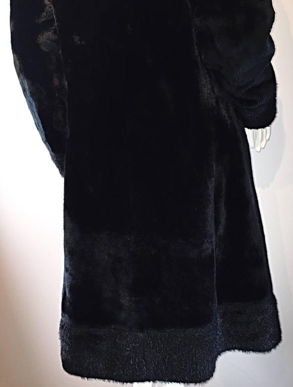 1960s Vintage Mackintosh Black Faux Fur 60s Double Breasted Swing Jacket Coat 7