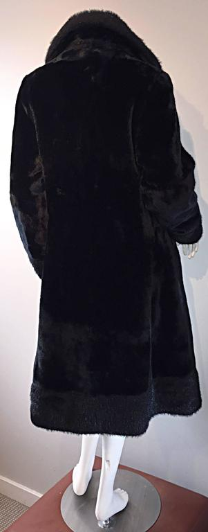 1960s Vintage Mackintosh Black Faux Fur 60s Double Breasted Swing Jacket Coat 2