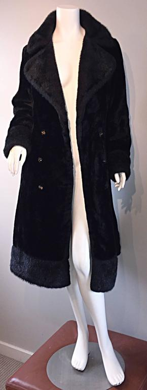 1960s Vintage Mackintosh Black Faux Fur 60s Double Breasted Swing Jacket Coat 3