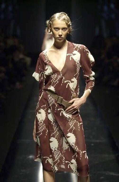 2001 Chloe Horse Print Silk Wrap Dress At 1stdibs