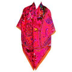 Hermes Peuple Du Vent Rose Orange Pink Cashmere Silk Shawl Scarf GM Gorgeous