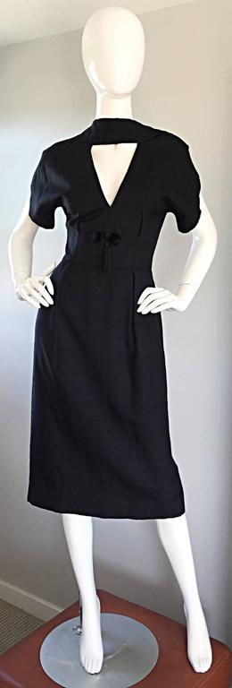 Estevez 1950s Black Silk Vintage Cut - Out Dress w/ Mink Pom Poms and Tassel  2
