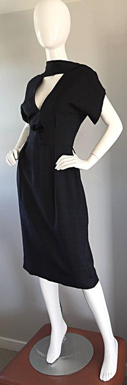 Estevez 1950s Black Silk Vintage Cut - Out Dress w/ Mink Pom Poms and Tassel  3