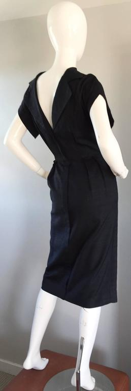 Estevez 1950s Black Silk Vintage Cut - Out Dress w/ Mink Pom Poms and Tassel  5