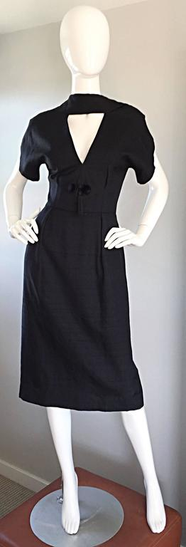 Estevez 1950s Black Silk Vintage Cut - Out Dress w/ Mink Pom Poms and Tassel  6