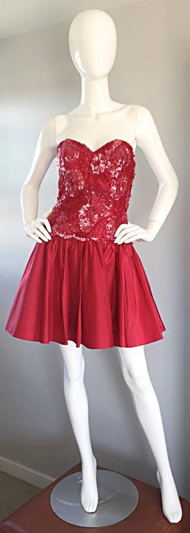 Joanna Mastroianni Beautiful Vintage 90s Candy Apple Red Strapless Sequin Dress 4