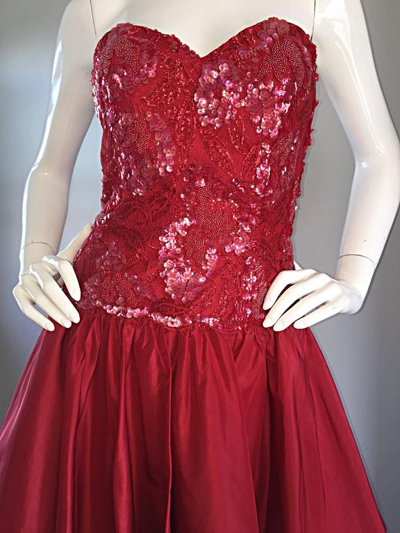 Joanna Mastroianni Beautiful Vintage 90s Candy Apple Red Strapless Sequin Dress 9