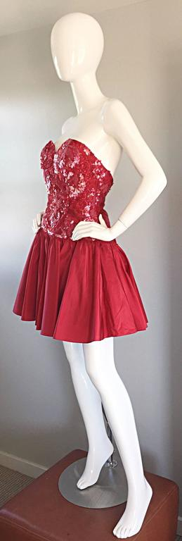 Joanna Mastroianni Beautiful Vintage 90s Candy Apple Red Strapless Sequin Dress 3