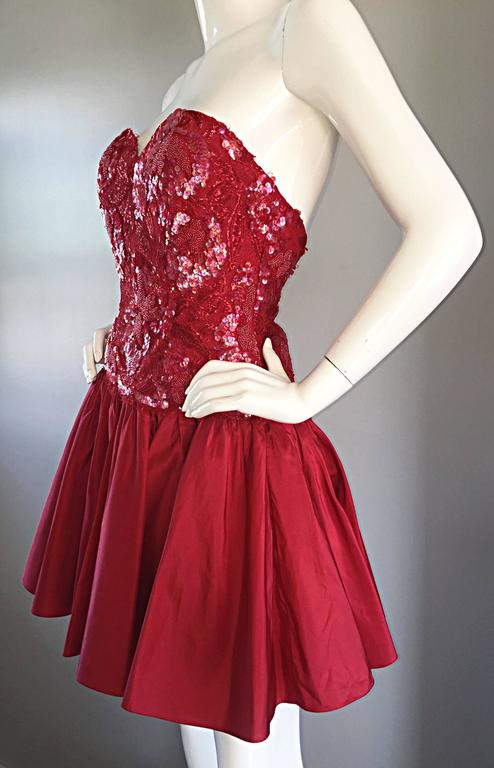 Joanna Mastroianni Beautiful Vintage 90s Candy Apple Red Strapless Sequin Dress 7