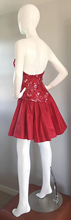Joanna Mastroianni Beautiful Vintage 90s Candy Apple Red Strapless Sequin Dress 8