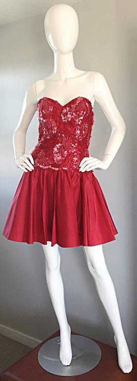 Joanna Mastroianni Beautiful Vintage 90s Candy Apple Red Strapless Sequin Dress 5