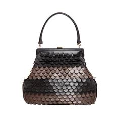 Lambertson Truex Ombre Scalloped Leather Handbag