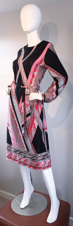 Vintage Lanvin 1970s 70s Large Pink + Red + Gray Belted Geometric Flower Dress For Sale 1