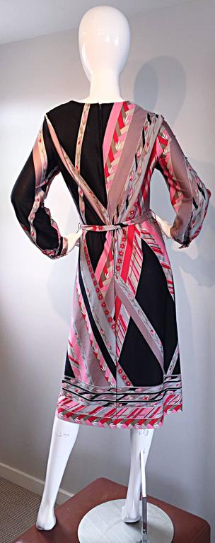 Vintage Lanvin 1970s 70s Large Pink + Red + Gray Belted Geometric Flower Dress For Sale 2