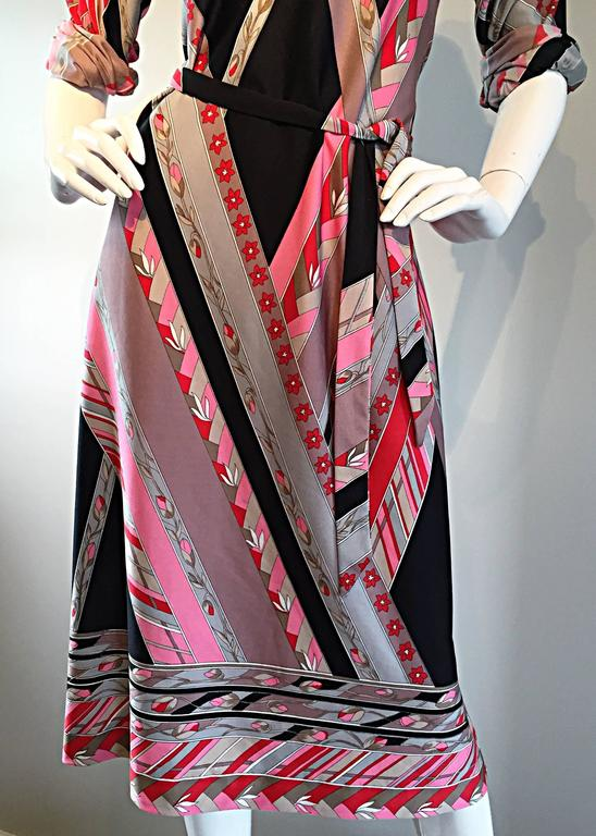 Vintage Lanvin 1970s 70s Large Pink + Red + Gray Belted Geometric Flower Dress For Sale 5