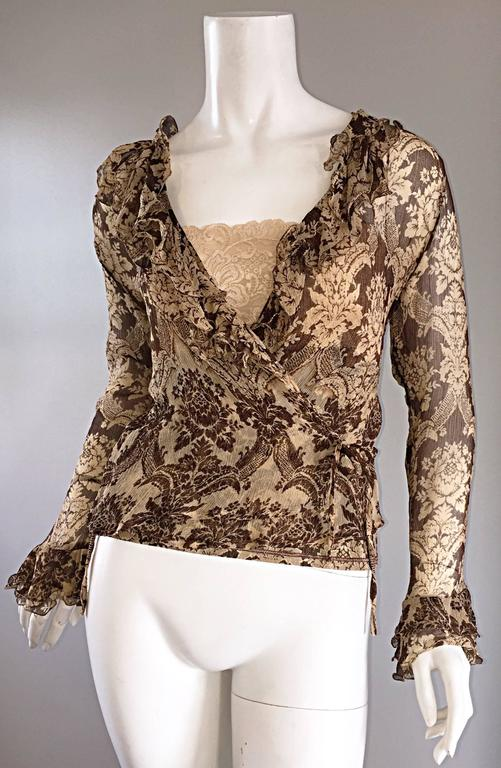 Women's Amazing Vintage Roberto Cavalli Regal ' Victorian Lace ' Silk Blouse & Cardigan  For Sale