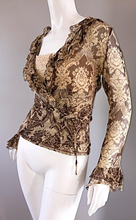 Brown Amazing Vintage Roberto Cavalli Regal ' Victorian Lace ' Silk Blouse & Cardigan  For Sale