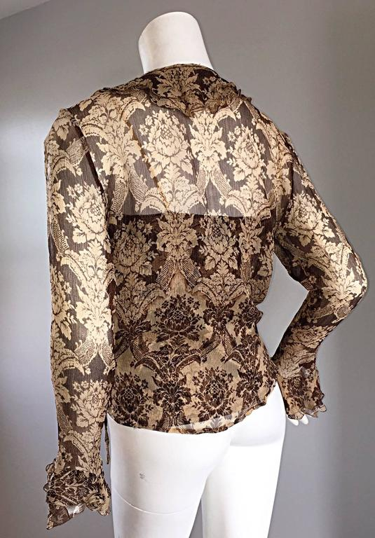 Amazing Vintage Roberto Cavalli Regal ' Victorian Lace ' Silk Blouse & Cardigan  In Excellent Condition For Sale In San Francisco, CA