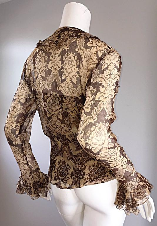 Amazing Vintage Roberto Cavalli Regal ' Victorian Lace ' Silk Blouse & Cardigan  For Sale 2