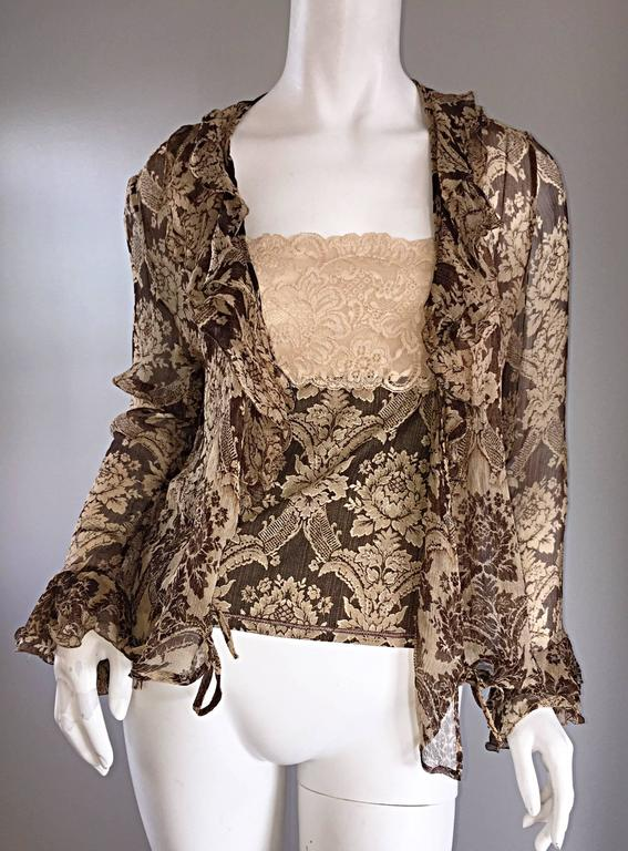 Amazing Vintage Roberto Cavalli Regal ' Victorian Lace ' Silk Blouse & Cardigan  For Sale 3