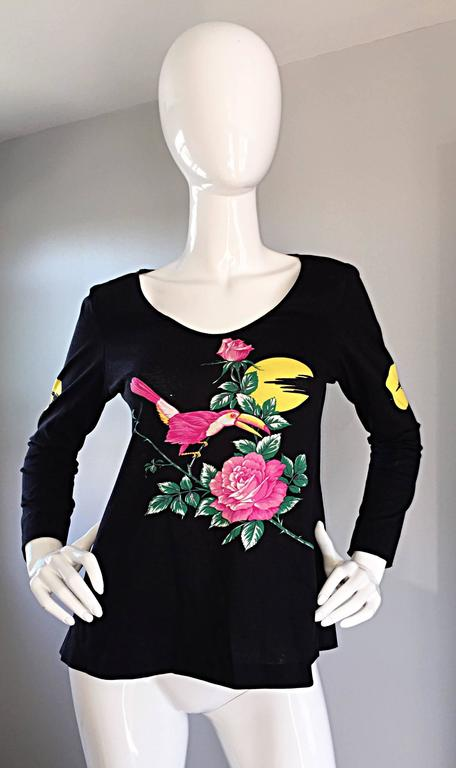 Vintage Hanae Mori ' Toucan Floral ' Black Long Sleeve Top  In Excellent Condition For Sale In San Francisco, CA