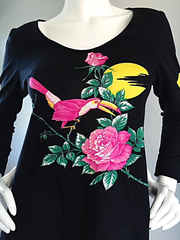 Vintage Hanae Mori ' Toucan Floral ' Black Long Sleeve Top  For Sale 3