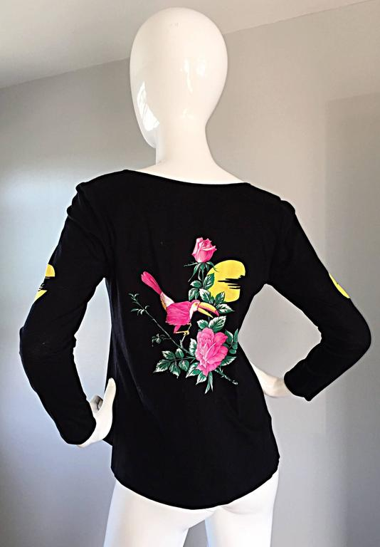 Vintage Hanae Mori ' Toucan Floral ' Black Long Sleeve Top  For Sale 1
