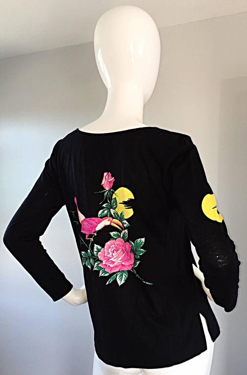 Awesome vintage HANAE MORI black long sleeve cotton shirt! Features amazing print of a Toucan on flowers, with the sunset behind, on both the front and back. Sunset print also on each arm. Great fit, which can be worn with jeans, trousers, or