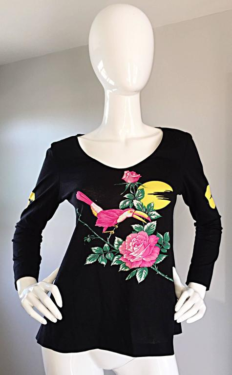 Vintage Hanae Mori ' Toucan Floral ' Black Long Sleeve Top  For Sale 2