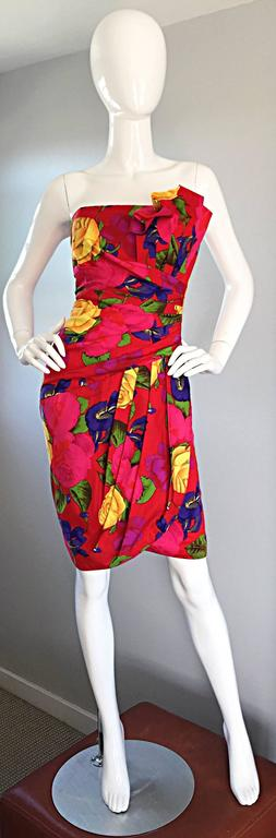 Sexy Vintage Neiman Marcus Hawaiian Flower Print Strapless Origami Wiggle Dress 4