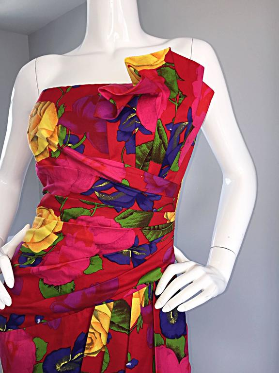 Sexy Vintage Neiman Marcus Hawaiian Flower Print Strapless Origami Wiggle Dress 7