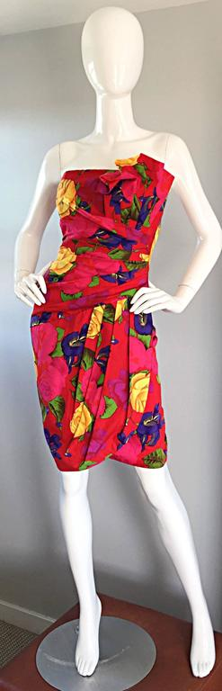 Sexy Vintage Neiman Marcus Hawaiian Flower Print Strapless Origami Wiggle Dress 5