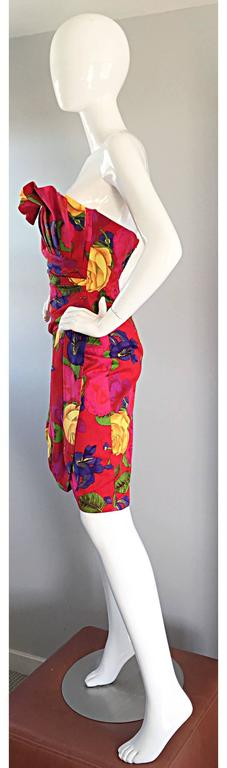 Sexy Vintage Neiman Marcus Hawaiian Flower Print Strapless Origami Wiggle Dress For Sale 4