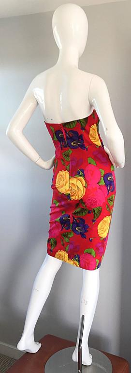 Sexy Vintage Neiman Marcus Hawaiian Flower Print Strapless Origami Wiggle Dress 6