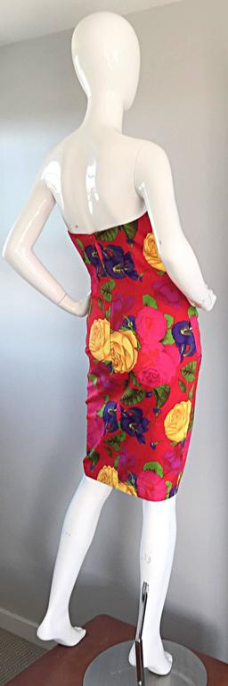 Sexy Vintage Neiman Marcus Hawaiian Flower Print Strapless Origami Wiggle Dress 2