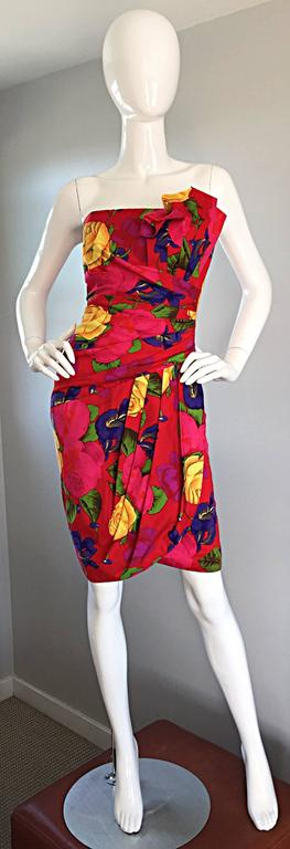Sexy Vintage Neiman Marcus Hawaiian Flower Print Strapless Origami Wiggle Dress 3