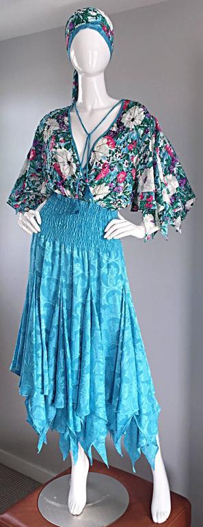 Amazing Vintage Diane Freis Colorful Beaded Boho Dress w/ Head Scarf  For Sale 3