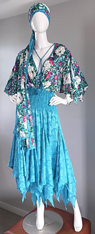 Amazing Vintage Diane Freis Colorful Beaded Boho Dress w/ Head Scarf  For Sale 5