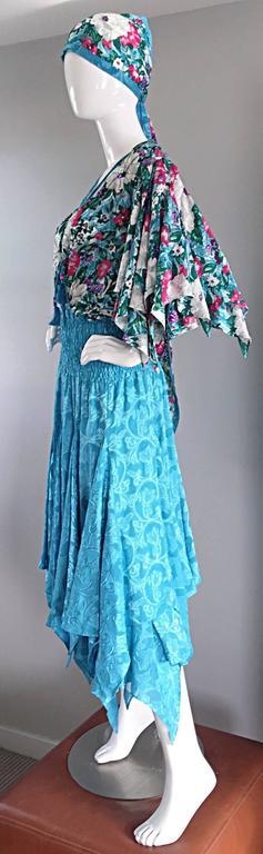 Amazing Vintage Diane Freis Colorful Beaded Boho Dress w/ Head Scarf  For Sale 1