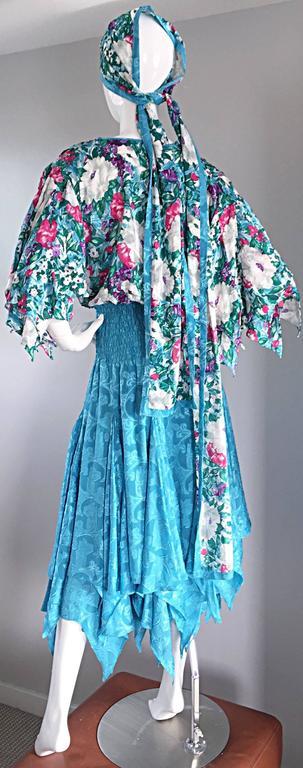 Amazing Vintage Diane Freis Colorful Beaded Boho Dress w/ Head Scarf  For Sale 2