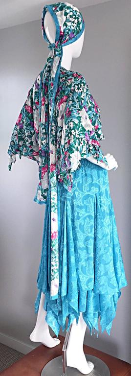 Amazing Vintage Diane Freis Colorful Beaded Boho Dress w/ Head Scarf  In Excellent Condition For Sale In Chicago, IL
