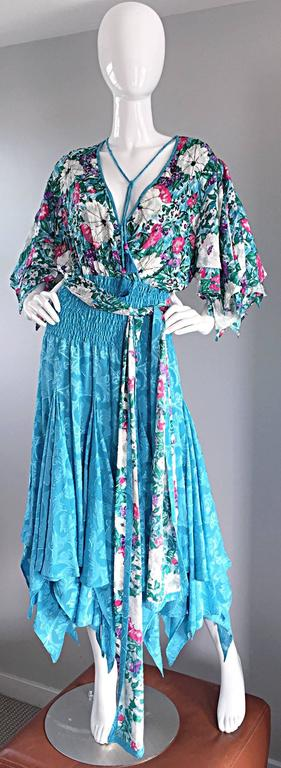 Incredible vintage DIANE FREIS ( Fres ) boho dress, and matching head scarf! Beaded throughout the flower printed bodice, with 'scarf-hem' sleeves, and skirt. So much detail on this rare find! Attached tassels at the neck, with beads at each end.